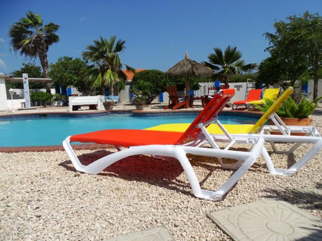 Pool area and sunloungers
