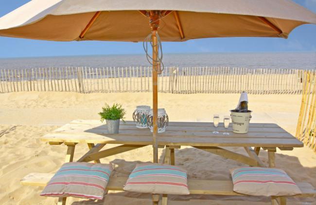 Uitzicht strandhuisjes