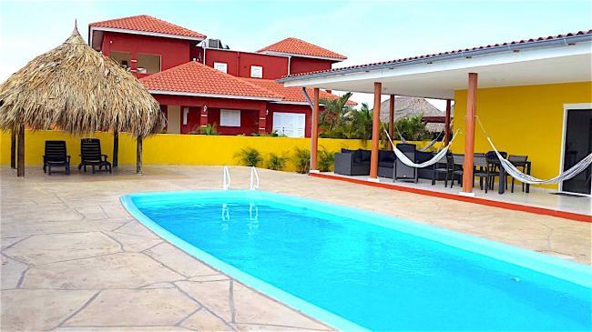 een fantastisch groot terras met een groot privé zwembad van 10 bij 4 meter