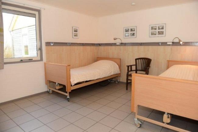 Slaapkamer met Hoog- laagbed(den) (en papegaai)