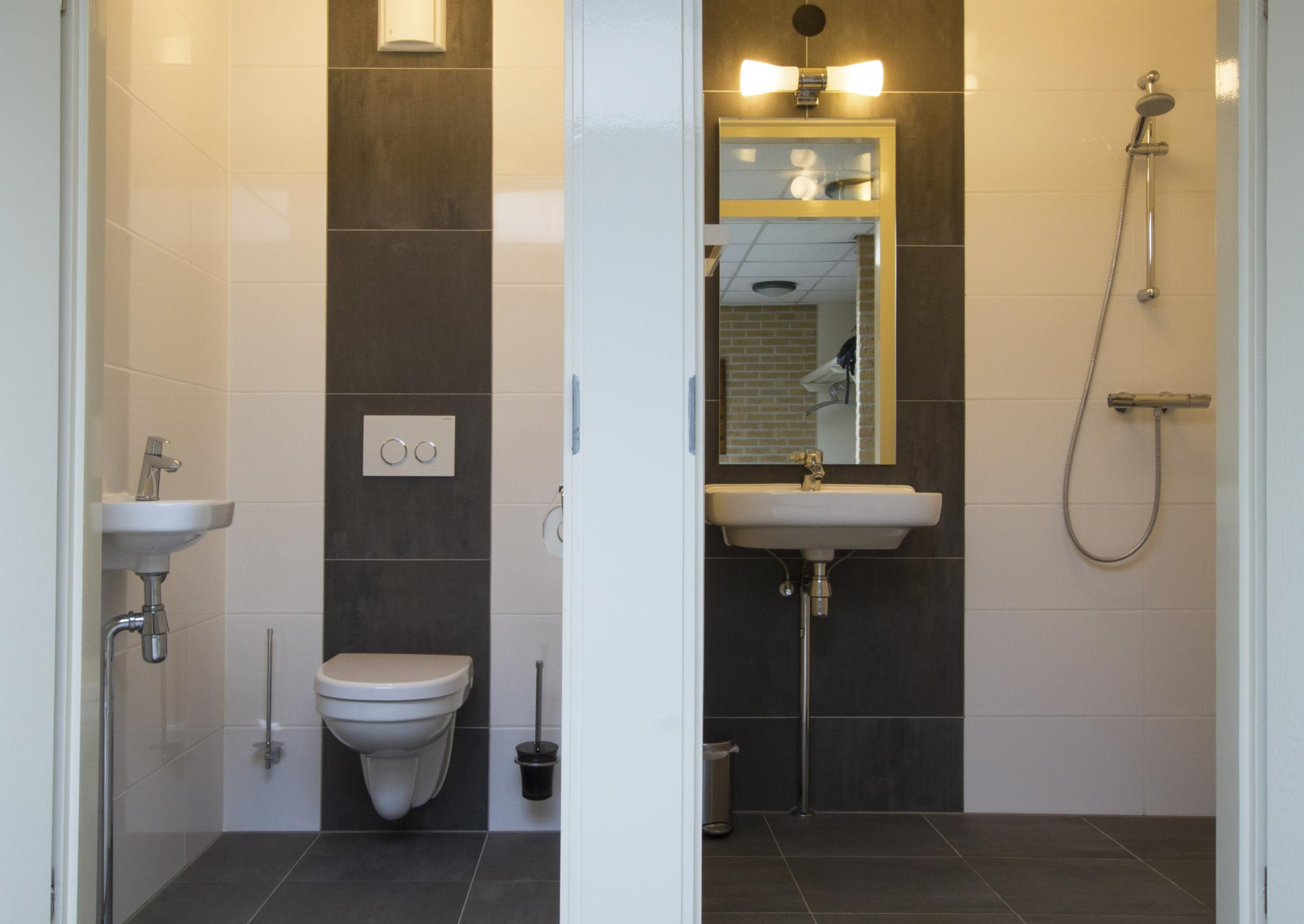 Aparte douche en toilet in de hal