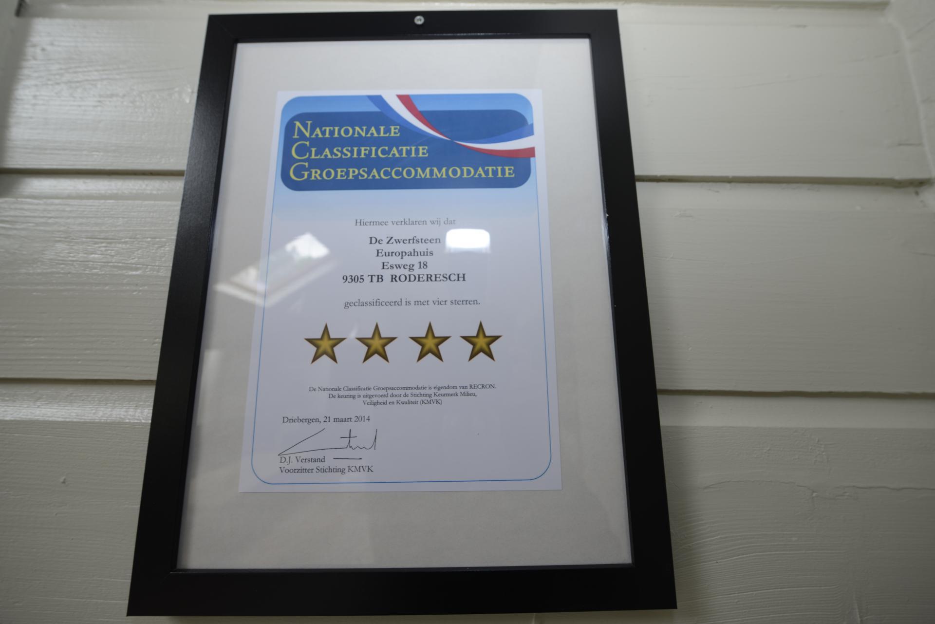 Groepsaccommodatie certificaat