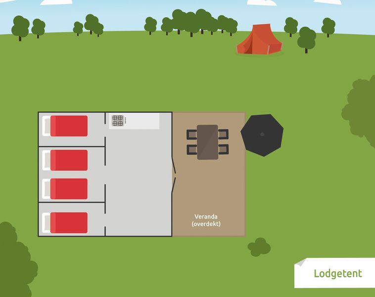 Recreatiepark De Boshoek Ingerichte Lodgetent 5 personen Voorthuizen Veluwe Gelderland