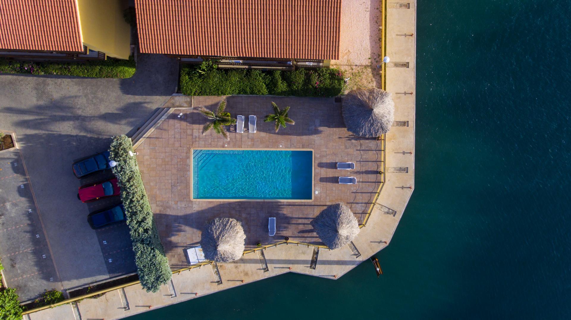 Gezamelijk zwembad met ligbedden