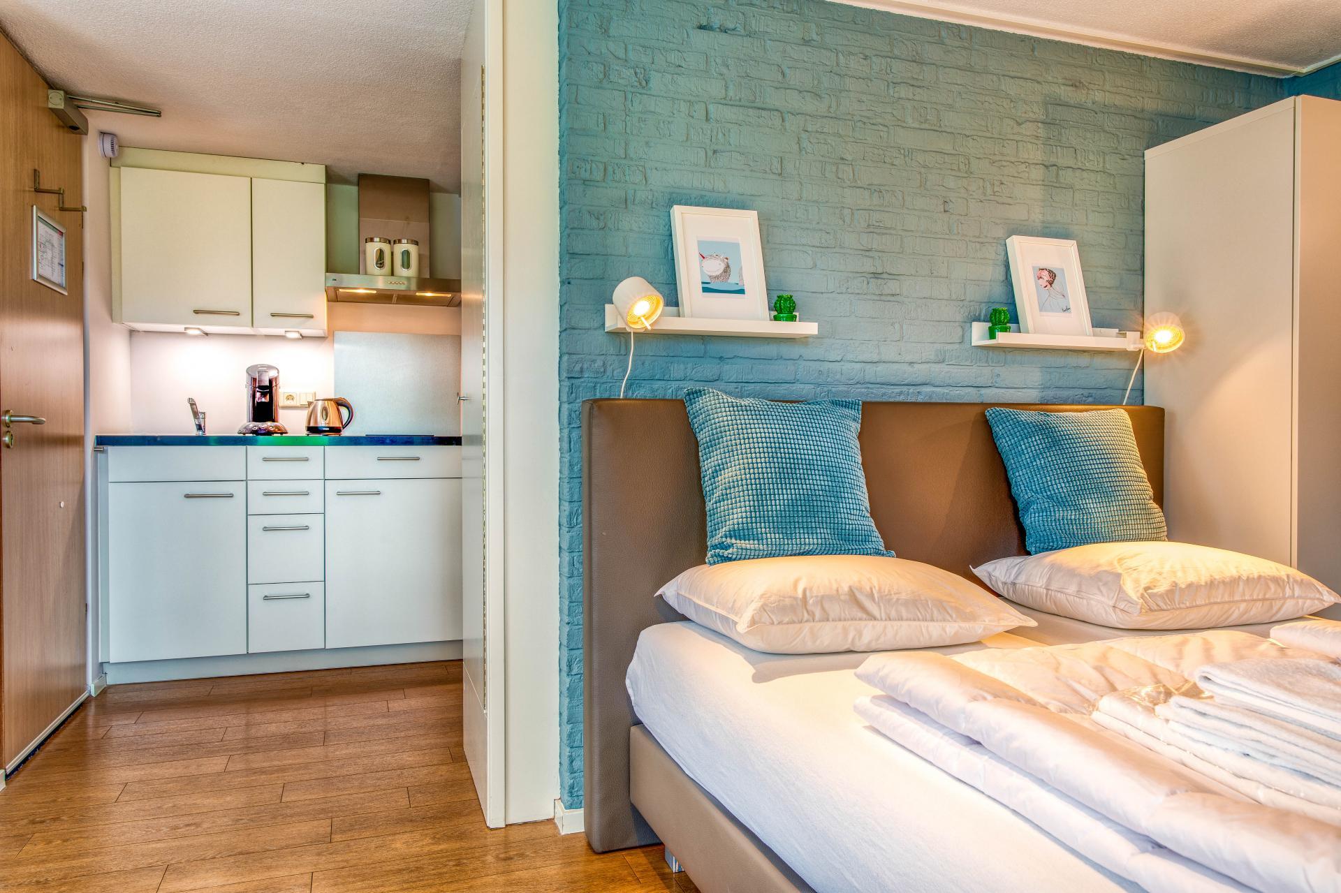 Strand Resort Schier Appartement 17 bed en keuken